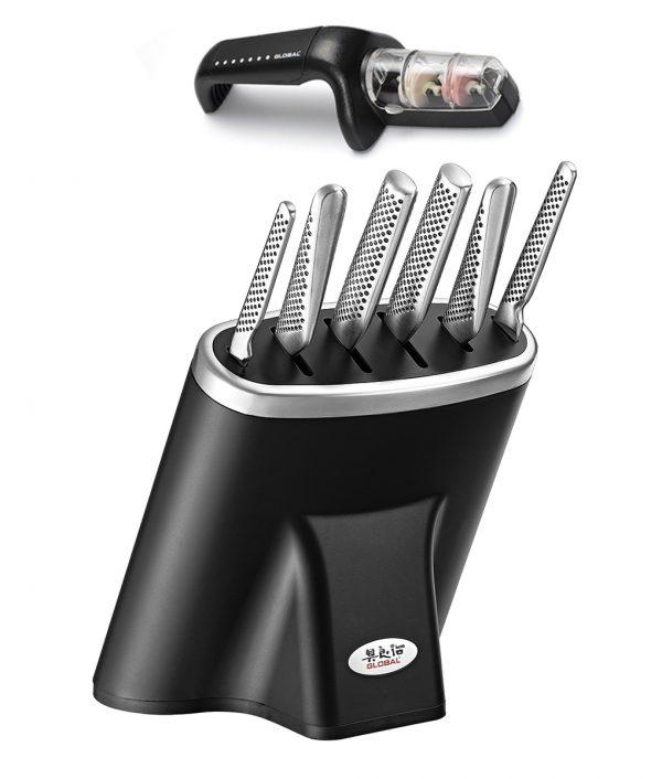 Global Knife Block Zeitaku Set 7pce + FREE Ceramic Sharpener – Instore Only Item Blocks and Knife Sets