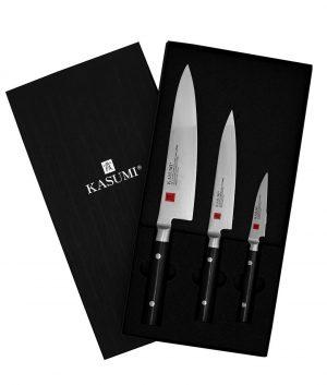 Kasumi – Damascus – 3pc Chef's Set Blocks and Knife Sets